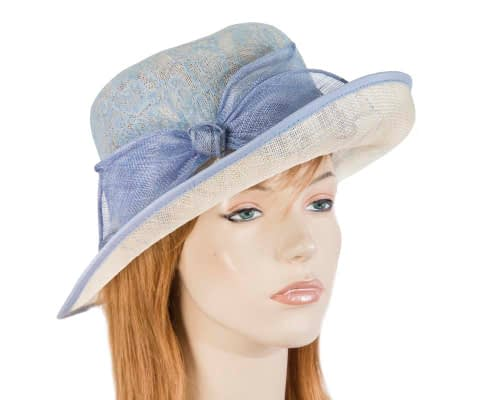 Blue & Cream fashion hat Fascinators.com.au SP396