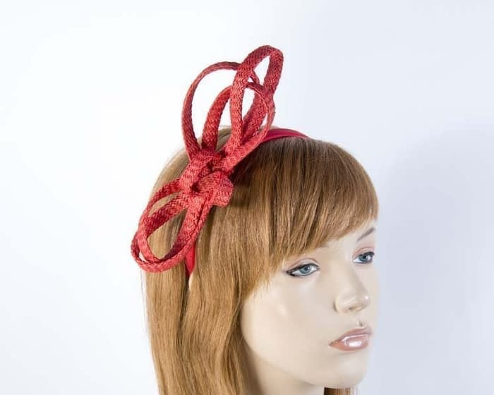 Stylish red loops on headband Fascinators.com.au