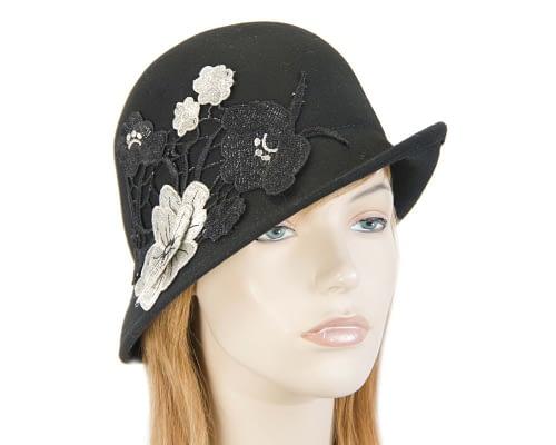 Black felt bucket cloche hat with lace Fascinators.com.au