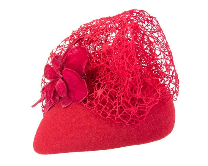 Large red winter racing fascinator beret Fascinators.com.au
