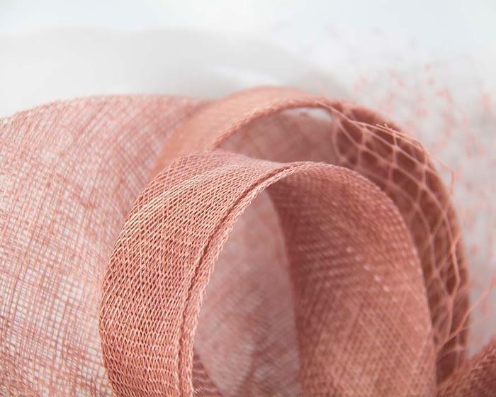 Large dusty pink sinamay fascinator by Max Alexander Fascinators.com.au