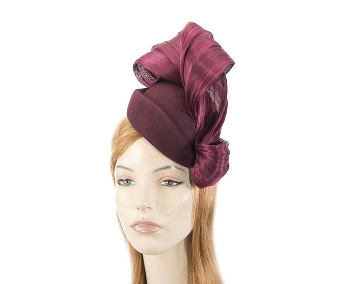 Burgundy wine felt stewardess pillbox with silk abaca bow Fascinators.com.au