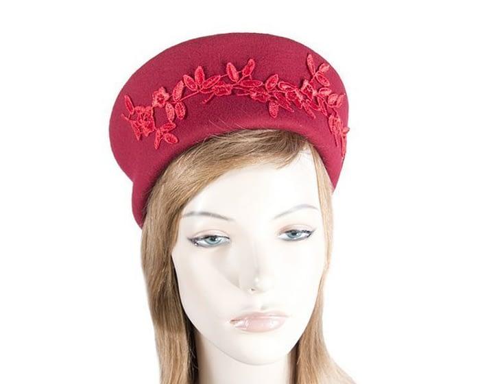 Large red felt beret hat Fascinators.com.au