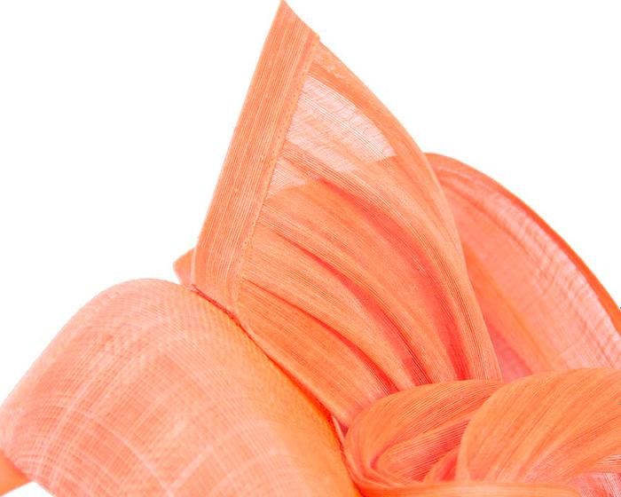 Orange pillbox with silk abaca bow Fascinators.com.au