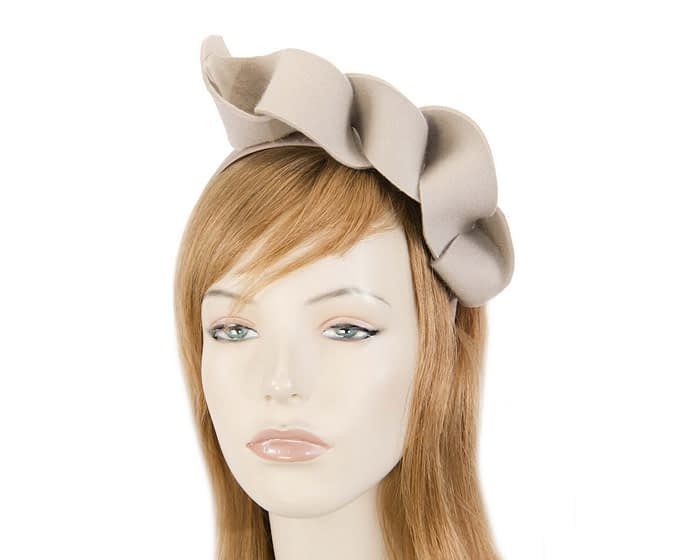 Twisted beige felt winter racing fascinator Fascinators.com.au