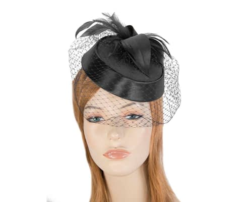 Black custom made pillbox hat Fascinators.com.au