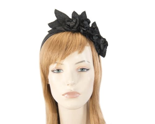 Black flower headband fascinator Fascinators.com.au