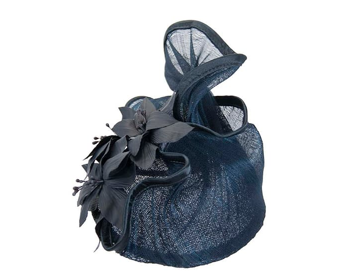 Navy fascinator with leather flowers by Fillies Collection Fascinators.com.au