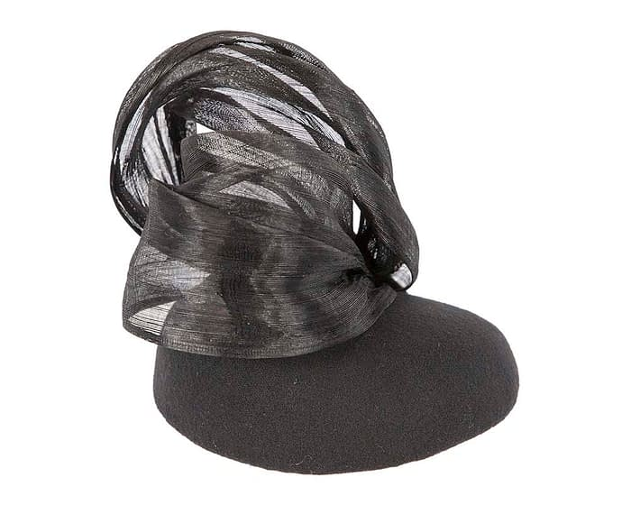 Black racing winter pillbox with bow by Fillies Collection Fascinators.com.au