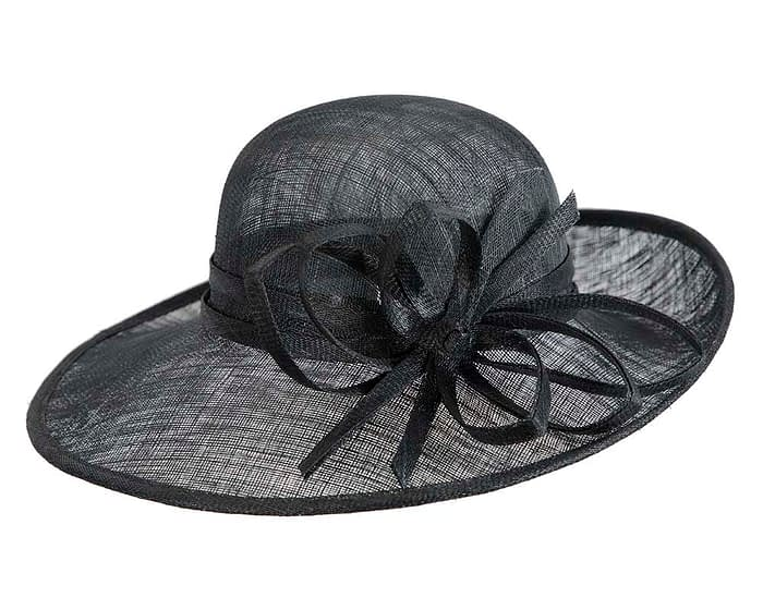 Wide brim black racing hat by Max Alexander Fascinators.com.au