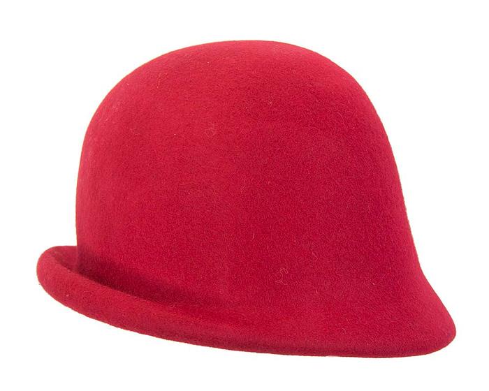 Red felt bucket hat with brass buckle Fascinators.com.au