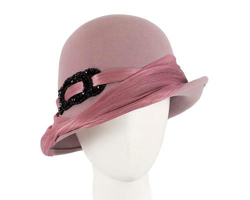 Australian made dusty pink felt bucket hat by Fillies Collection Fascinators.com.au