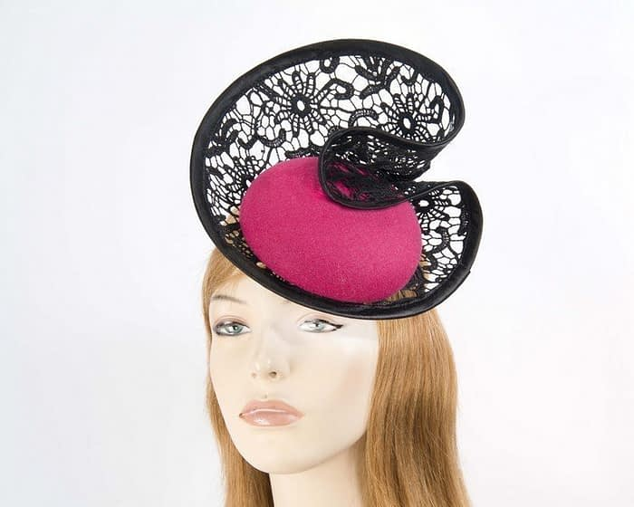 Fuchsia lace winter fascinator Fascinators.com.au