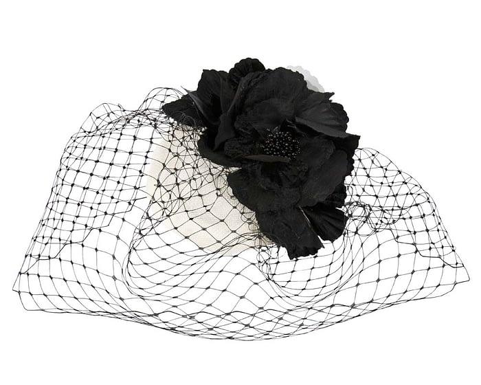 White & black flower pillbox with face veiling Fascinators.com.au