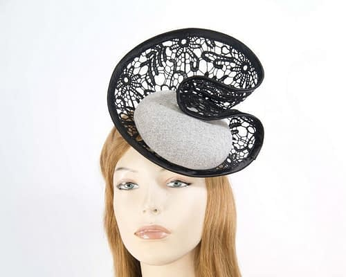 Grey lace winter fascinator Fascinators.com.au