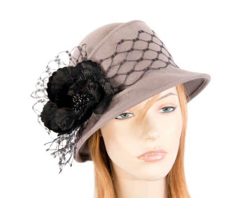 Grey ladies felt winter hat with flower F569G Fascinators.com.au