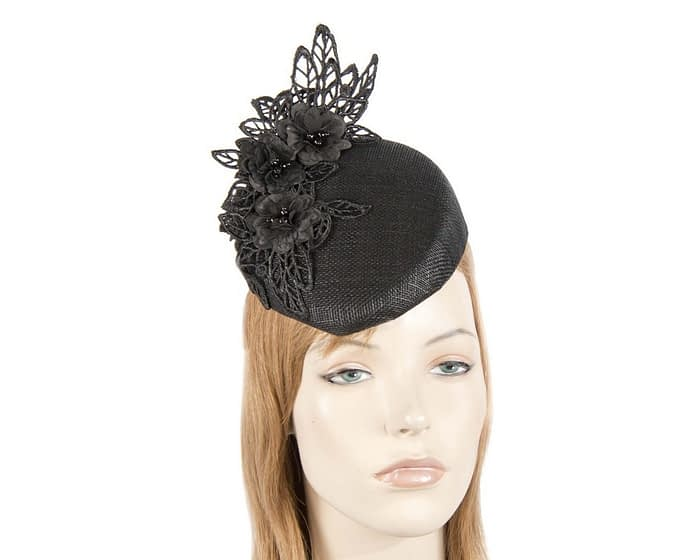 Black lace pillbox fascinator Fascinators.com.au