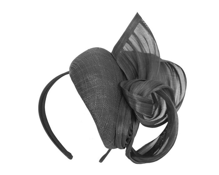 Black pillbox with silk abaca bow Fascinators.com.au