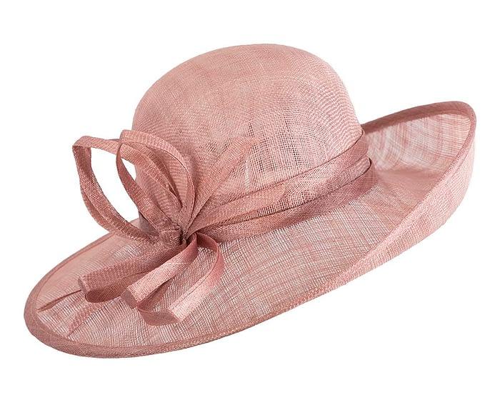 Wide brim dusty pink racing hat by Max Alexander Fascinators.com.au