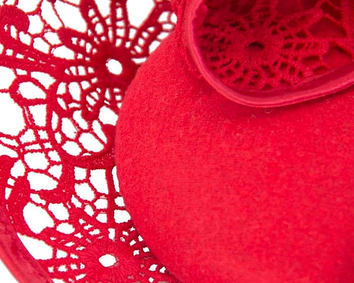 Red lace winter fascinator Fascinators.com.au