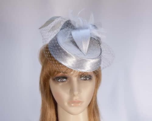 Silver pillbox hat K4811S Fascinators.com.au