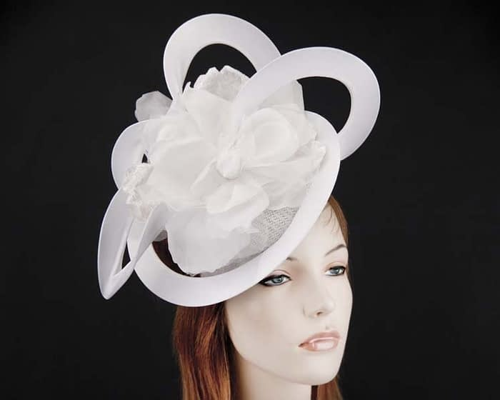 Unusual Australian made white racing fascinator by Fillies Collection S155W Fascinators.com.au
