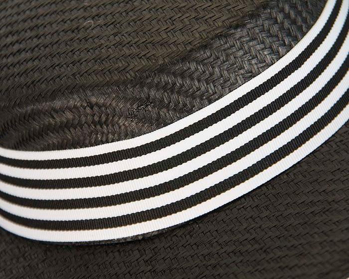 Black & white boater hat by Max Alexander Fascinators.com.au
