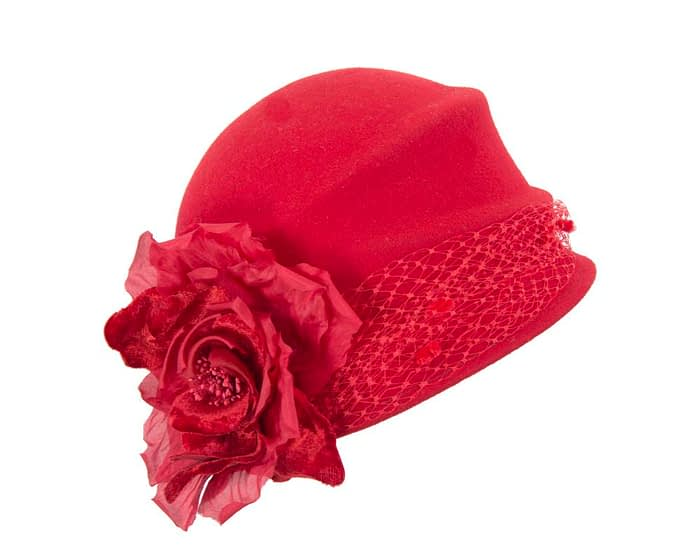 Red felt bucket hat with flower Fascinators.com.au