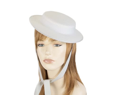 White mini boater hat by Max Alexander Fascinators.com.au
