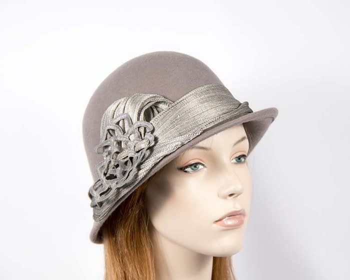 Grey felt bucket hat by Fillies Collection Fascinators.com.au