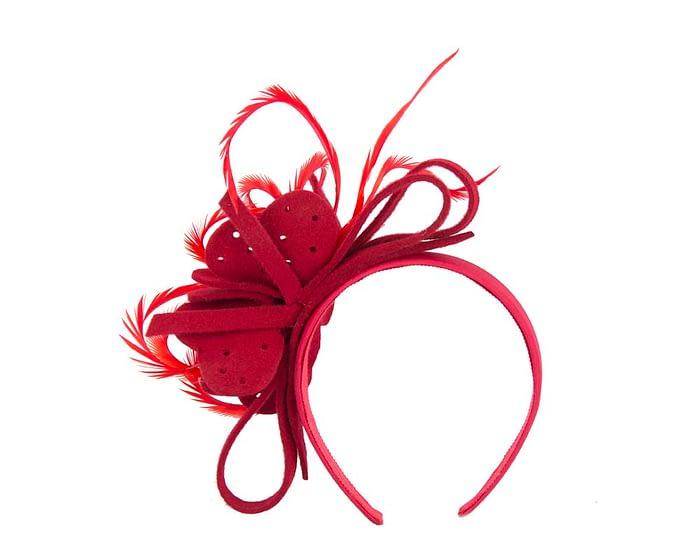 Red felt flower headband fascinator Fascinators.com.au
