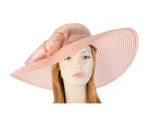 Wide brim peach fashion hat Fascinators.com.au