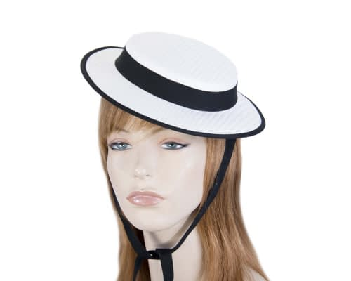 White & black mini boater hat by Max Alexander Fascinators.com.au MA816 white black
