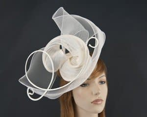 Cream Australian made  fascinator for Melbourne Cup races S153C Fascinators.com.au