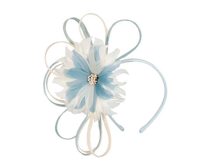 Light blue & Cream feather flower racing fascinator by Max Alexander Fascinators.com.au