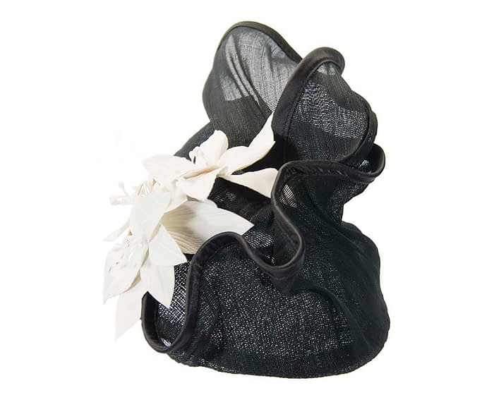 Black & cream fascinator with leather flowers by Fillies Collection Fascinators.com.au