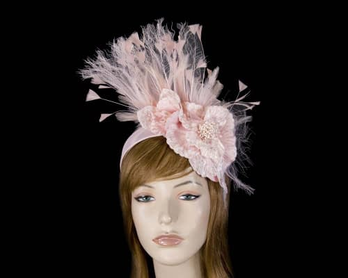 Blush feather flower racing fascinator Fascinators.com.au