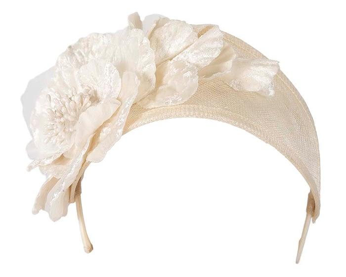 Cream flower headband racing fascinator Fascinators.com.au