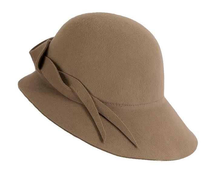Unusual wide brim camel felt hat by Max Alexander Fascinators.com.au