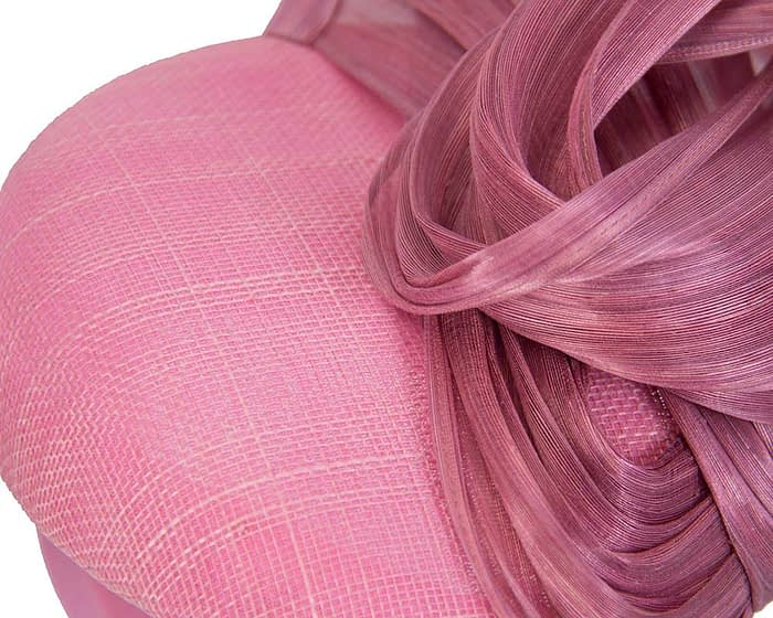 Dusty pink pillbox with silk abaca bow Fascinators.com.au