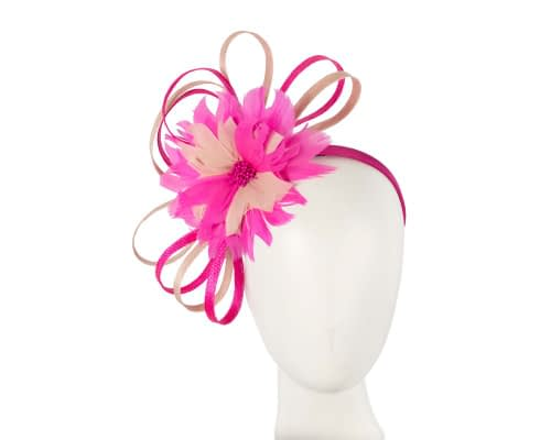 Fuchsia & Blush feather flower racing fascinator by Max Alexander Fascinators.com.au