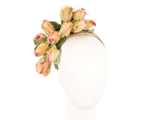 Peach Rose Flower Headband by Max Alexander Fascinators.com.au