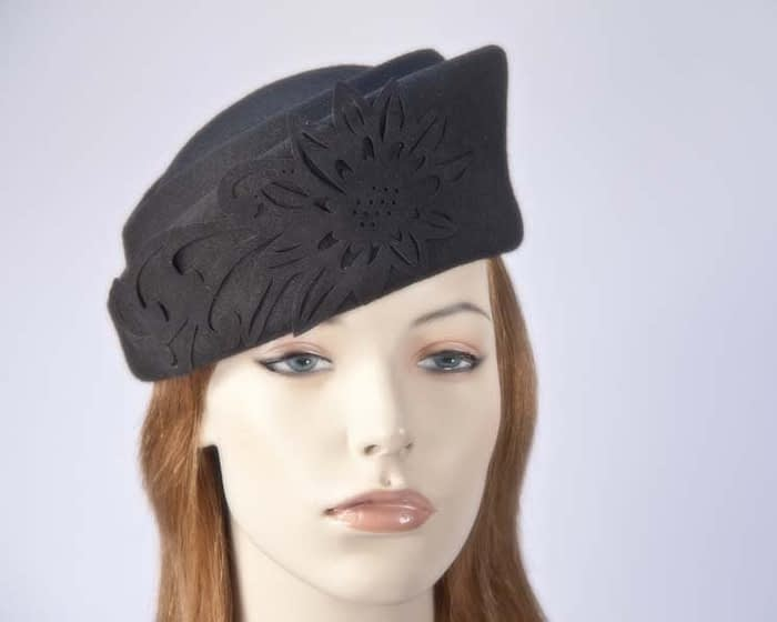 Black Jackie Onassis style felt pillbox Max Alexander J291B Fascinators.com.au