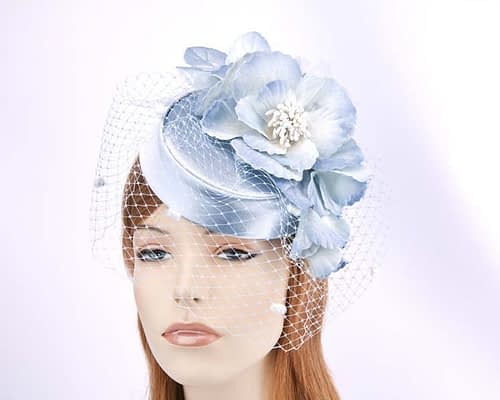 Ice blue pillbox with flowers and veil K5015IB Fascinators.com.au
