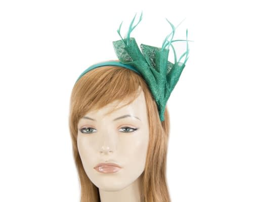 Green sinamay twists with feathers fascinator Fascinators.com.au