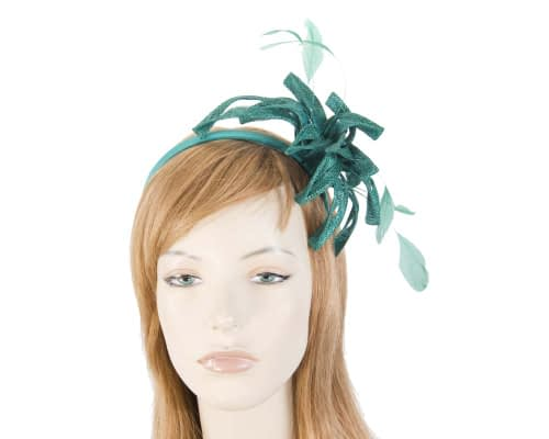 Teal sinamay loops fascinator Fascinators.com.au