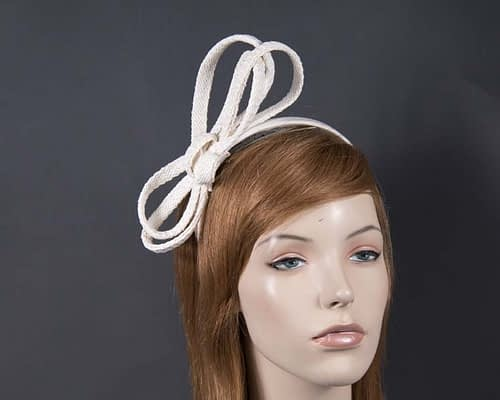 Stylish white loops on headband Fascinators.com.au