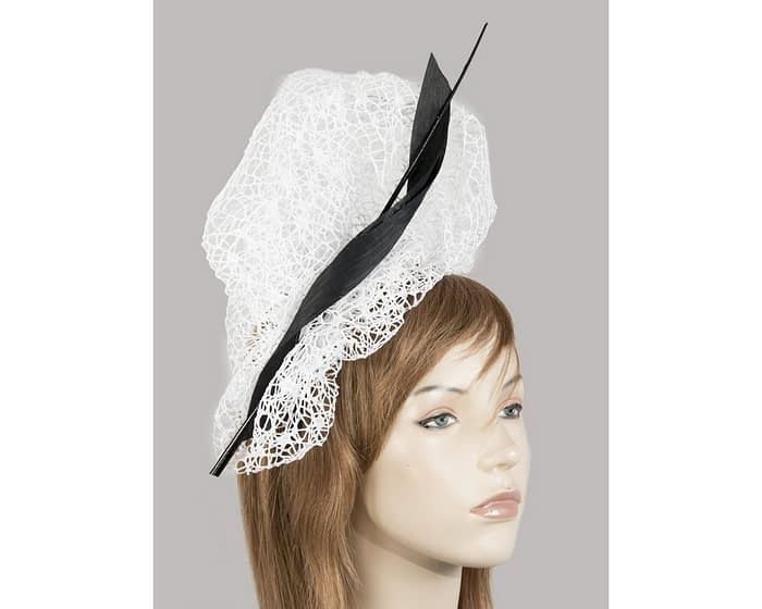 Bespoke white & black lace fascinator Fascinators.com.au