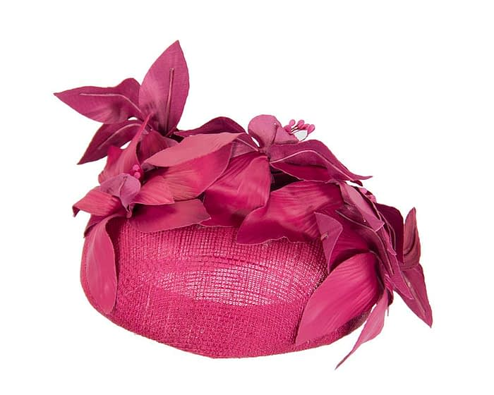 Fuchsia leather flowers pillbox by Fillies Collection Fascinators.com.au