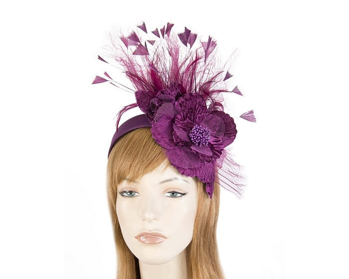 Burgundy wine feather flower racing fascinator Fascinators.com.au